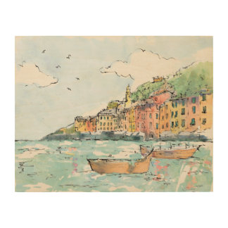 Illustration of Porofino Harbor Wood Wall Art