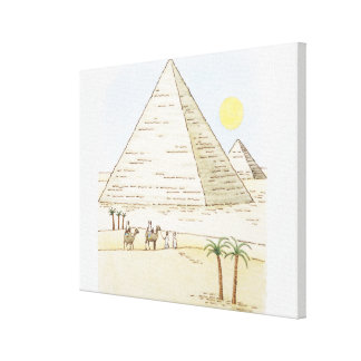 Illustration of pyramids and men with camels canvas print