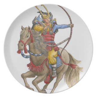 Illustration of Samurai on horseback holding bow Party Plates