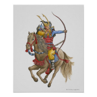 Illustration of Samurai on horseback holding bow Poster