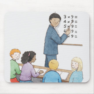 Illustration of teacher pointing at simple mouse pad