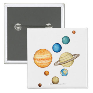 Illustration of the planets of the solar system 2 inch square button