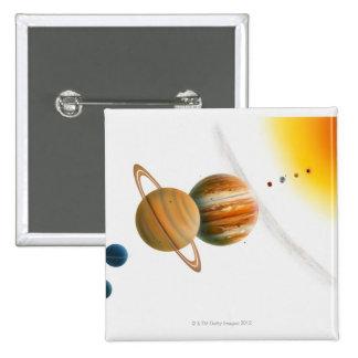 Illustration of the Sun, Mercury, Venus moon 2 Inch Square Button