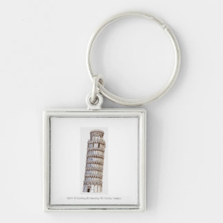 Illustration of the Tower of Pisa Silver-Colored Square Keychain