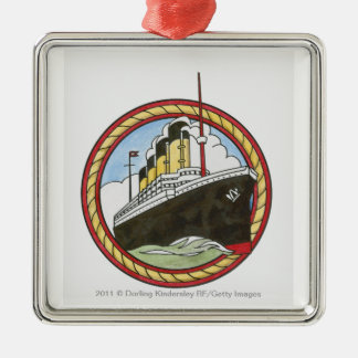 Illustration of Titanic Silver-Colored Square Ornament