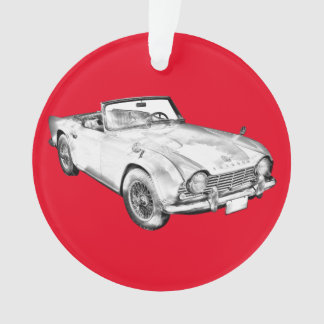 Illustration Of Triumph Tr4 Sports Car Ornament