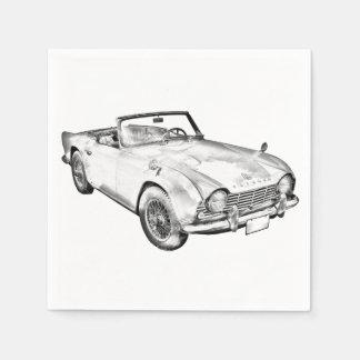 Illustration Of Triumph Tr4 Sports Car Paper Napkin