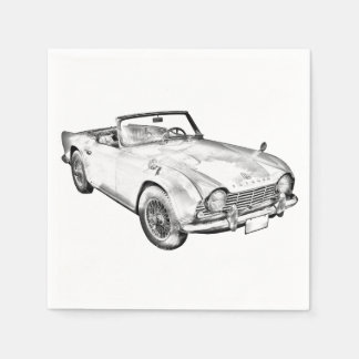 Illustration Of Triumph Tr4 Sports Car Paper Napkins