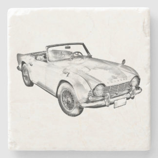 Illustration Of Triumph Tr4 Sports Car Stone Coaster