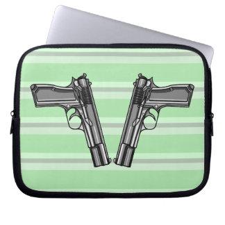 Illustration of two pistols computer sleeve