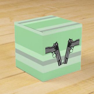 Illustration of two pistols party favor boxes