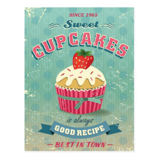Illustration of vintage cupcakes sign postcard