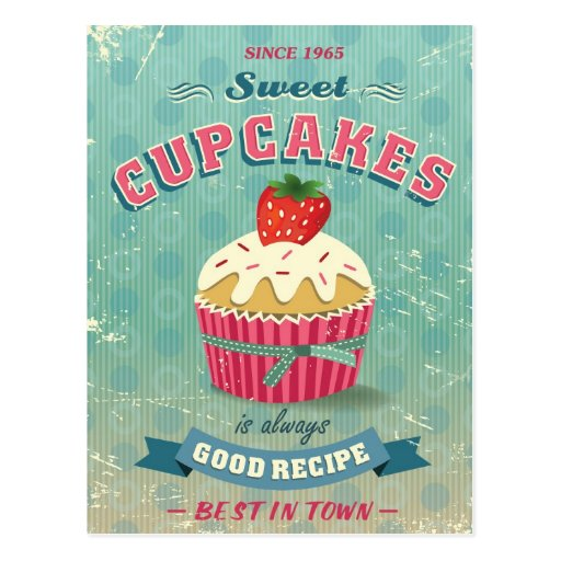 Illustration of vintage cupcakes sign post card