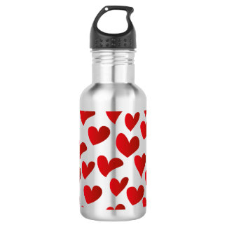 Illustration pattern painted red heart love 532 ml water bottle
