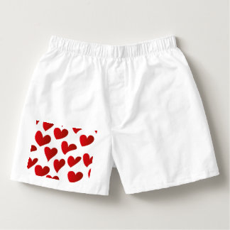 Illustration pattern painted red heart love boxers