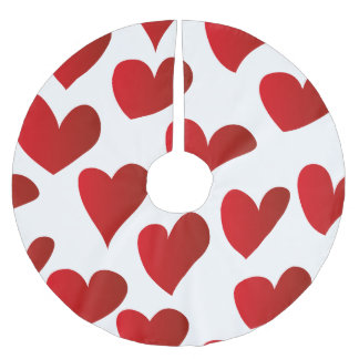 Illustration pattern painted red heart love brushed polyester tree skirt
