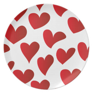 Illustration pattern painted red heart love dinner plate