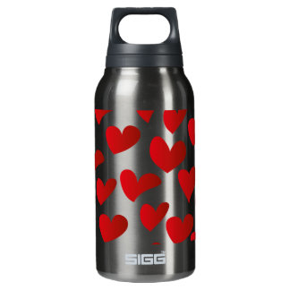 Illustration pattern painted red heart love insulated water bottle