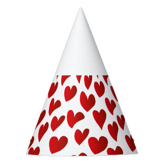 Illustration pattern painted red heart love party hat