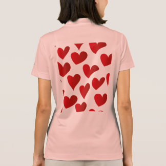 Illustration pattern painted red heart love polo shirt