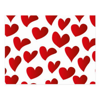 Illustration pattern painted red heart love postcard