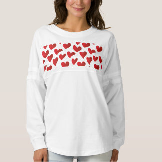 Illustration pattern painted red heart love spirit jersey