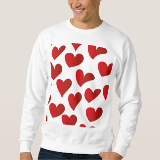 Illustration pattern painted red heart love sweatshirt
