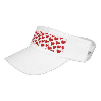 Illustration pattern painted red heart love visor