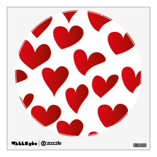 Illustration pattern painted red heart love wall decal