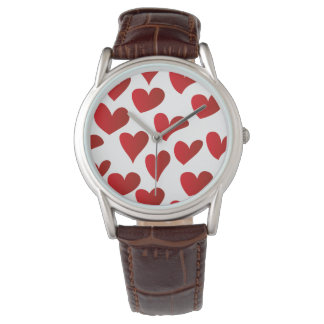 Illustration pattern painted red heart love watch