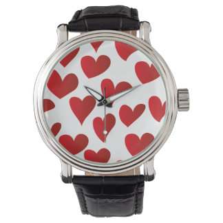 Illustration pattern painted red heart love watches