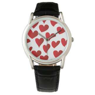 Illustration pattern painted red heart love wrist watch