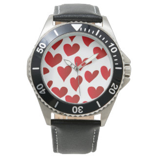 Illustration pattern painted red heart love wrist watches
