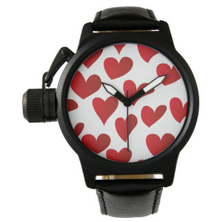 Illustration pattern painted red heart love wristwatches