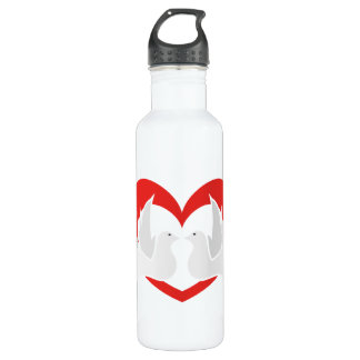 Illustration peace doves with heart 710 ml water bottle