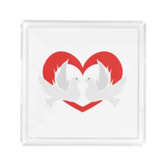 Illustration peace doves with heart acrylic tray