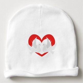 Illustration peace doves with heart baby beanie