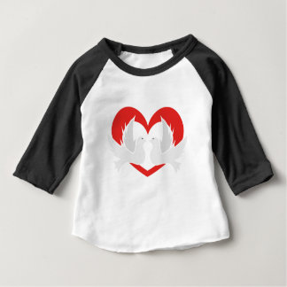 Illustration peace doves with heart baby T-Shirt