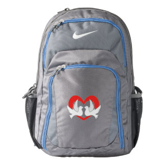 Illustration peace doves with heart backpack