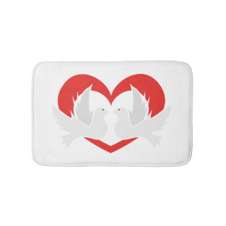Illustration peace doves with heart bath mat