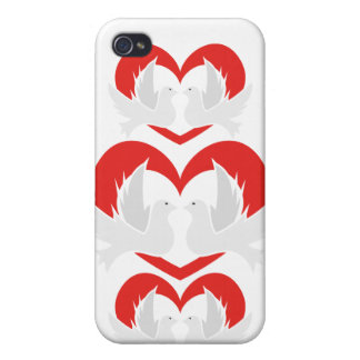 Illustration peace doves with heart cases for iPhone 4