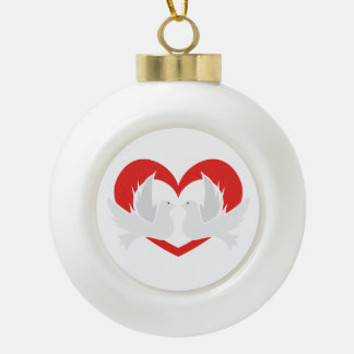 Illustration peace doves with heart ceramic ball christmas ornament