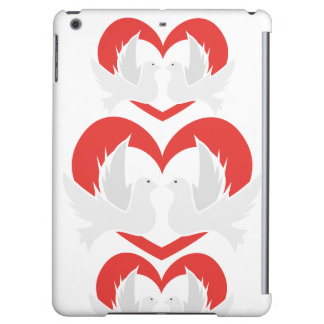 Illustration peace doves with heart cover for iPad air