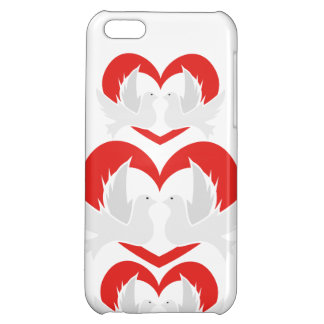 Illustration peace doves with heart cover for iPhone 5C