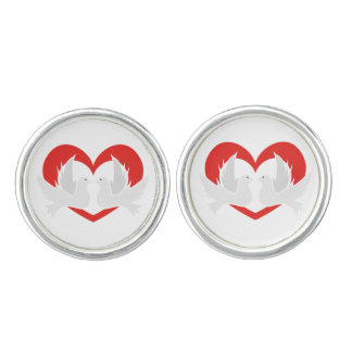 Illustration peace doves with heart cufflinks