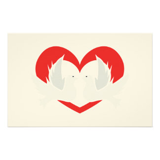 Illustration peace doves with heart customized stationery