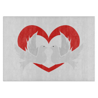 Illustration peace doves with heart cutting board