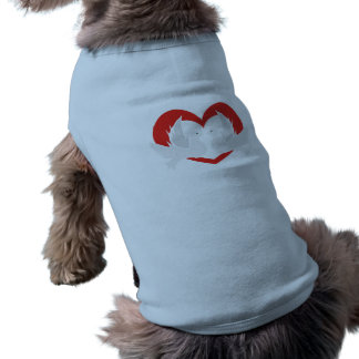 Illustration peace doves with heart doggie t shirt
