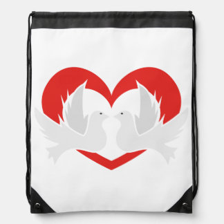 Illustration peace doves with heart drawstring bag