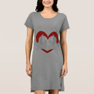 Illustration peace doves with heart dress